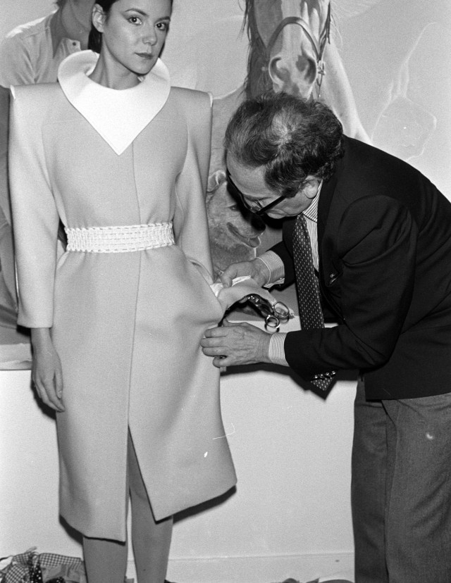 Pierre Cardin fit models at the preview for the 1980 couture collection