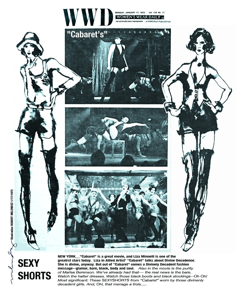 "Illustrations by Robert Melendez of the movie ""Cabaret"" from 1972."