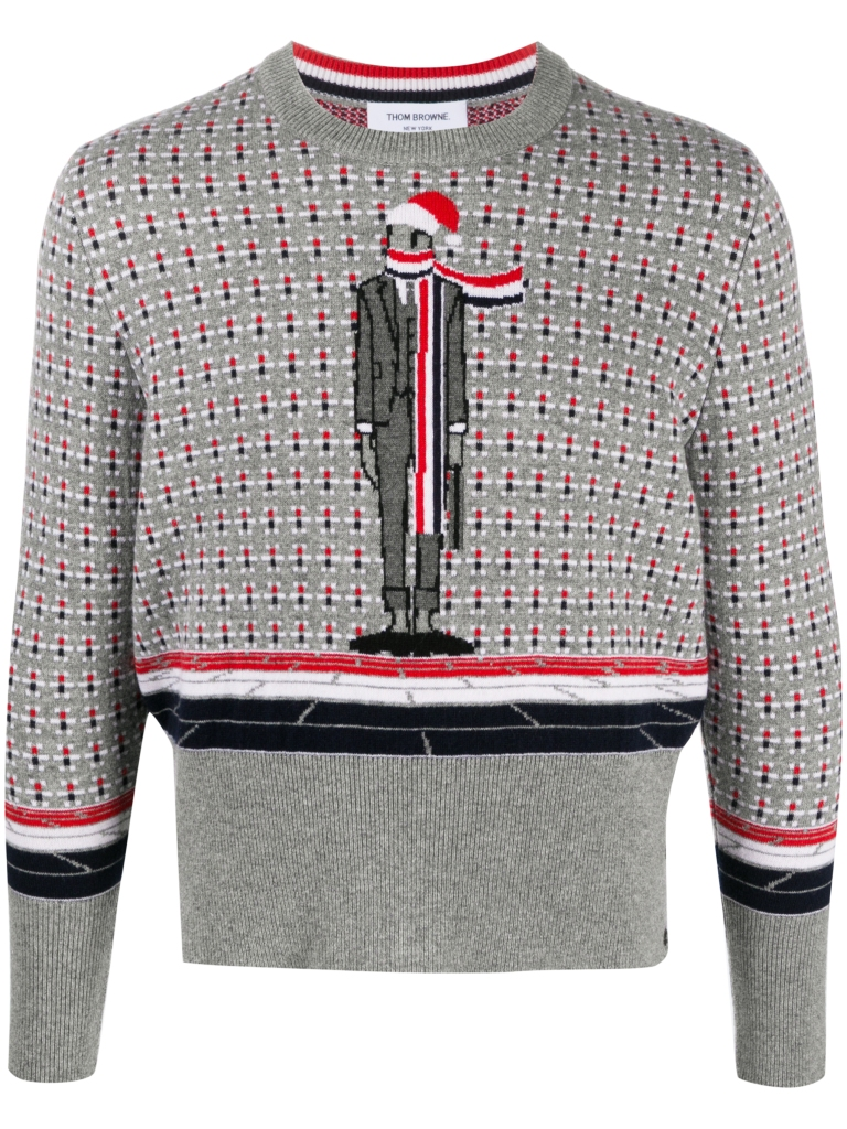 Holiday Sweaters 2020 Thom Browne Cashmere Holiday Office Man Crew Neck Pullover