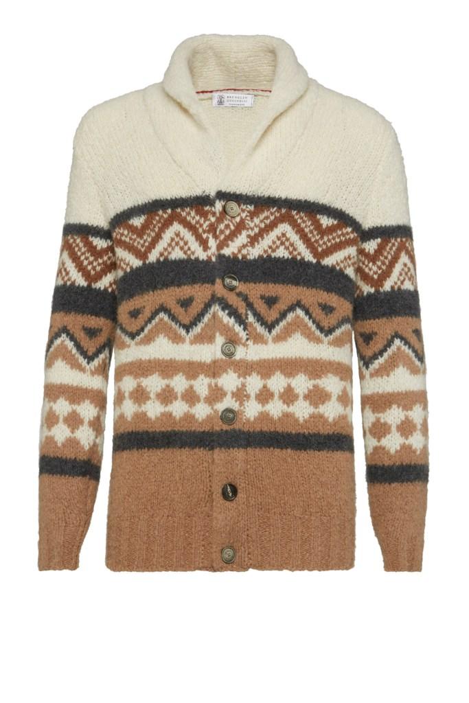 Brunello Cucinelli Alpaca, Virgin Wool and Cashmere Jacquard Knit Cardigan