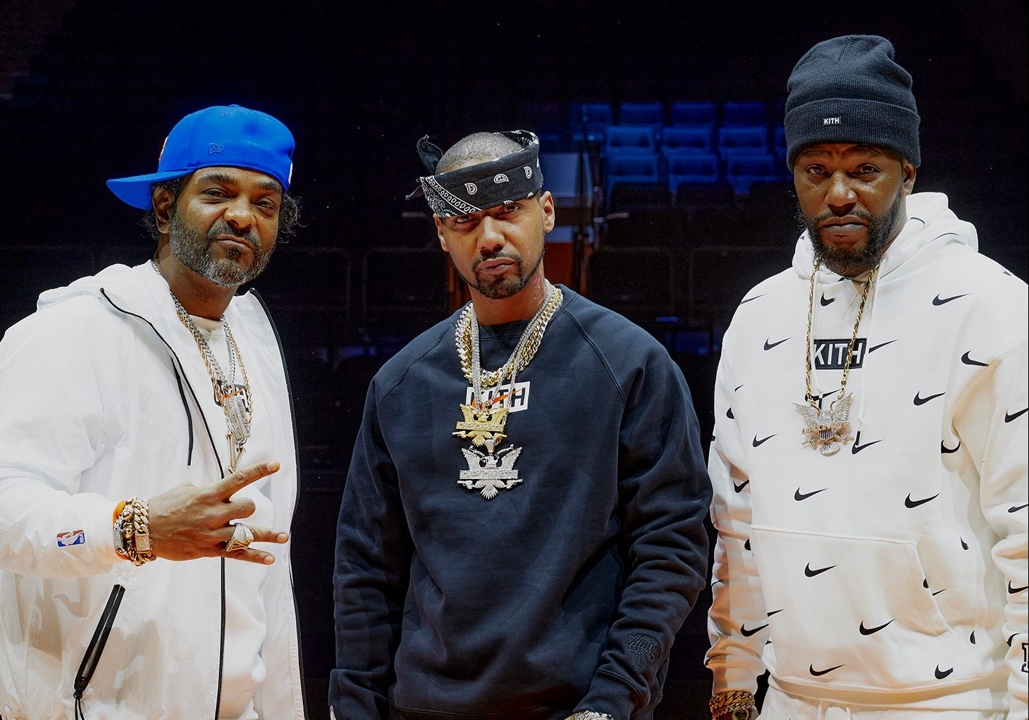 Dipset rappers Jim Jones, Juelz Santana and Cam'ron in the Kith & Nike for New York Knicks capsule
