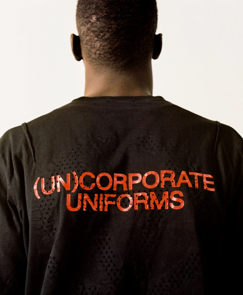A look from the Slam Jam's (Un)corporate Uniforms brand.