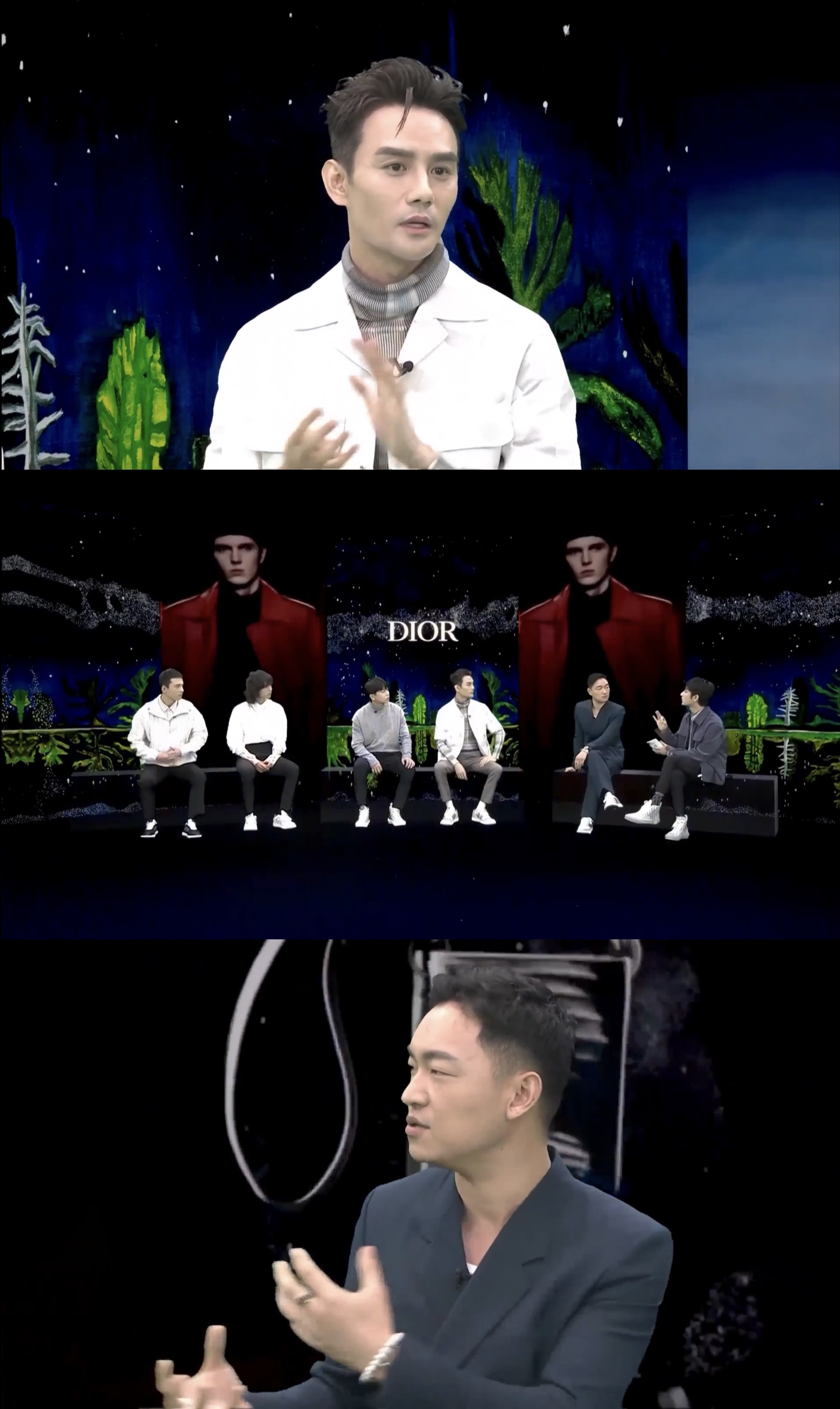 Screenshots of Dior Men's panel discussion featuring brand ambassadors, friends of the house and fashion editors, after its pre fall 2021 show in Beijing, which is a part of its live streaming in China.