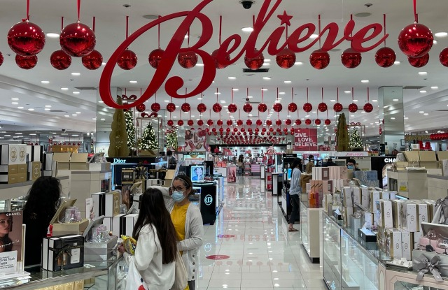 Holiday decorations at Mady's department store at The Shops at Montebello, Monday, Nov. 30, 2020, in Montebello, Calif. (Kirby Lee via AP)