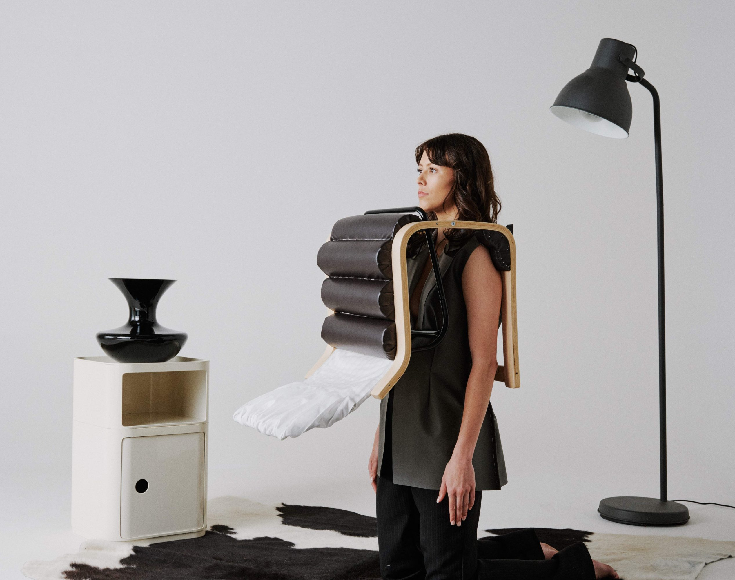 'Transat' chair with pleated backrest, shoulder rests and detachable vest - a look from Vanessa Tan's graduate collection 'Take a Seat'.