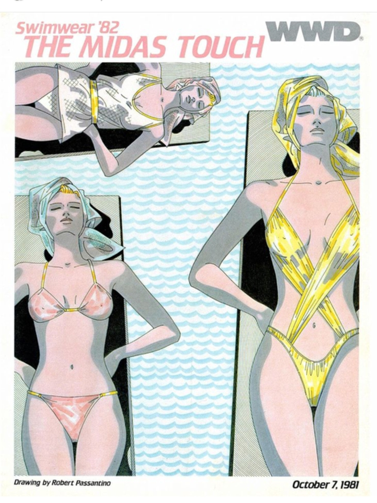 "The WWD Swimwear 1982 issue, ""The Midas Touch."""