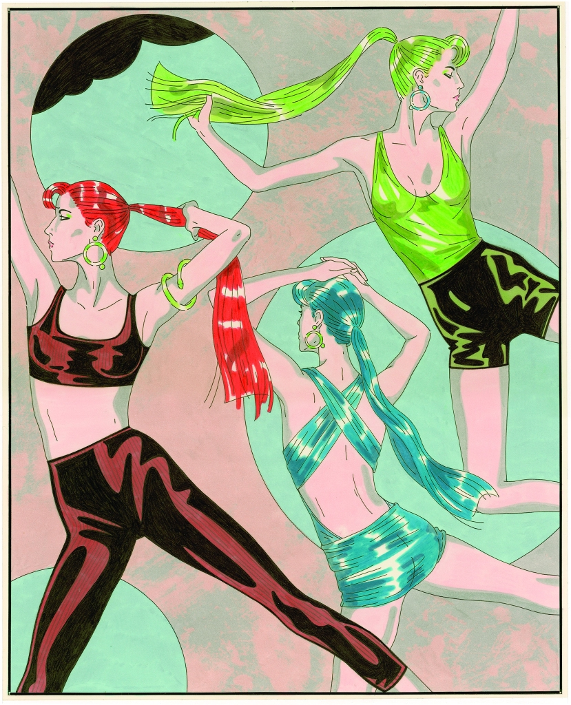 WWD cover illustration ca.1980s featuring activewear and swimwear by Robert Passantino