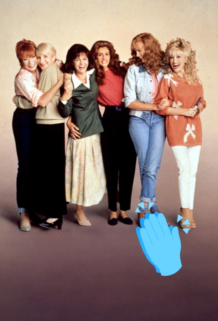 Shirley MacLaine, Olympia Dukakis, Sally Field, Julia Roberts, Daryl Hannah, and Dolly Parton, 1989.