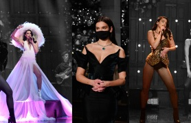 "Dua Lipa wearing Valentino, Mugler and Azzedine Alaïa on ""Saturday Night Live"""