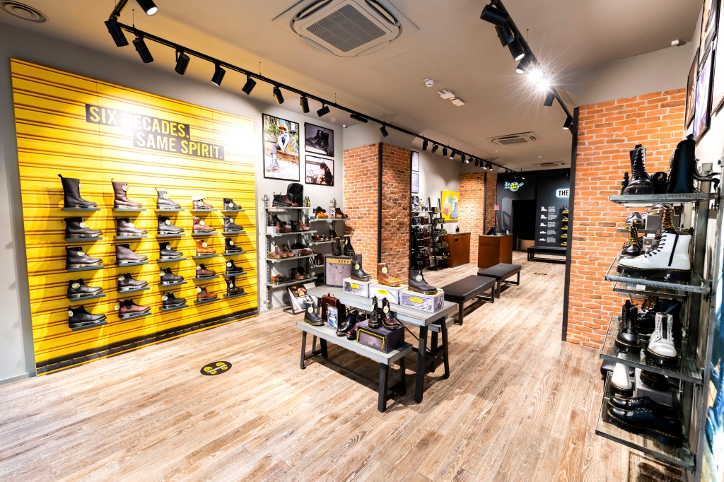 Inside the Dr. Martens' store in Rome, Italy.