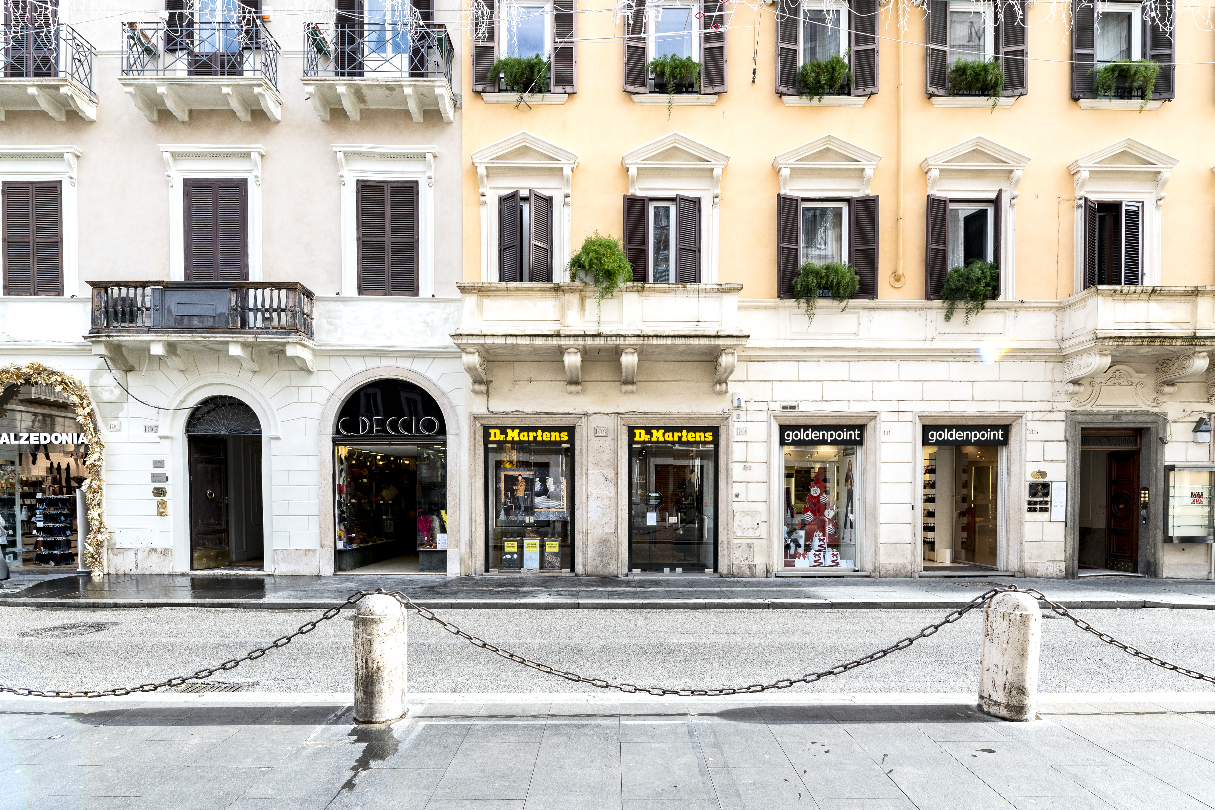 The windows of the Dr. Martens' store in Rome, Italy