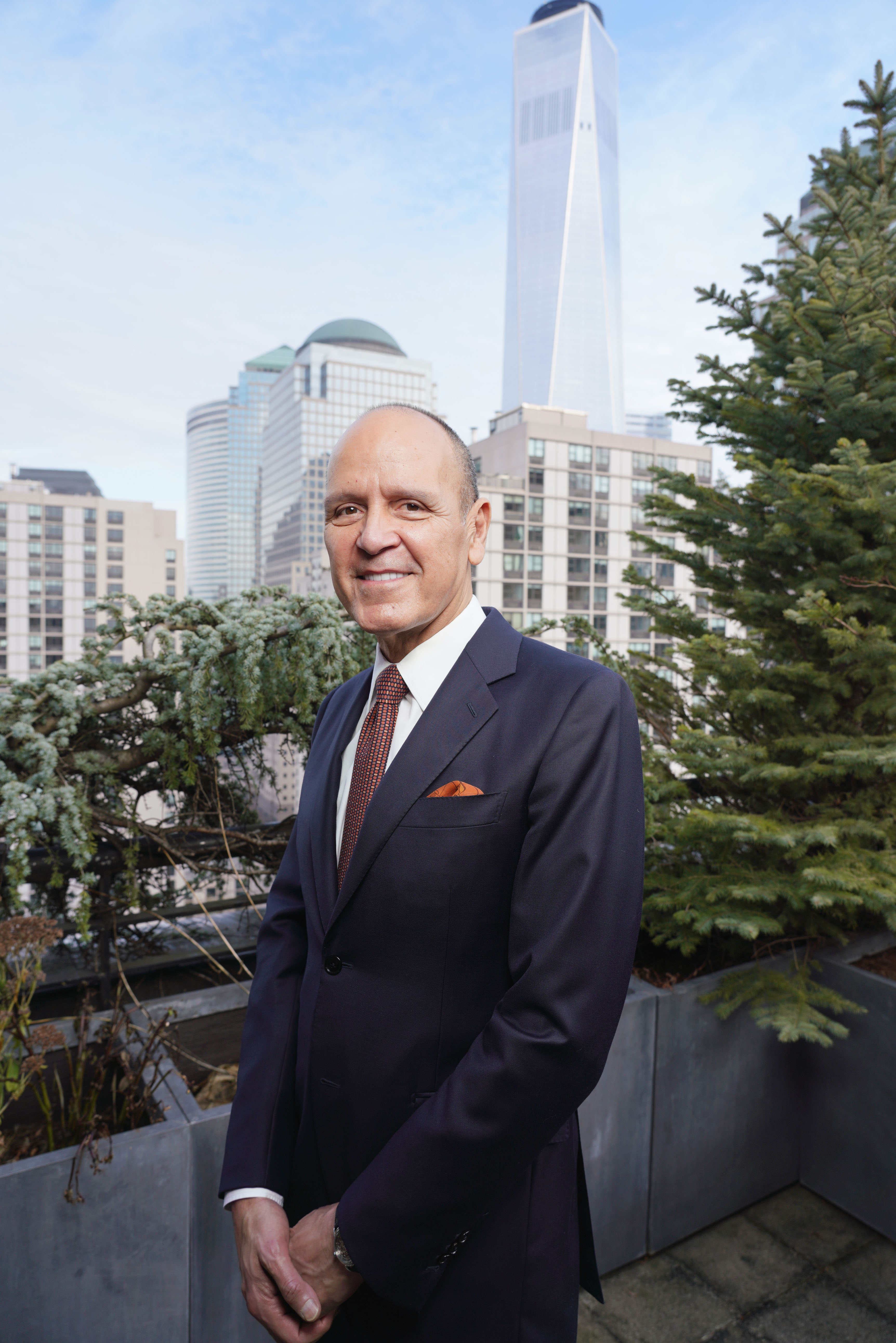 Robert Chavez, ceo of Herms Americas, taking in a majestic view of Lower Manhattan.