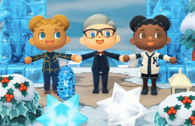 "Jasmine Sanders, Tommy Hilfiger and Michaela De Prince in ""Tommy Forest"" in ""Animal Crossing: New Horizons."""