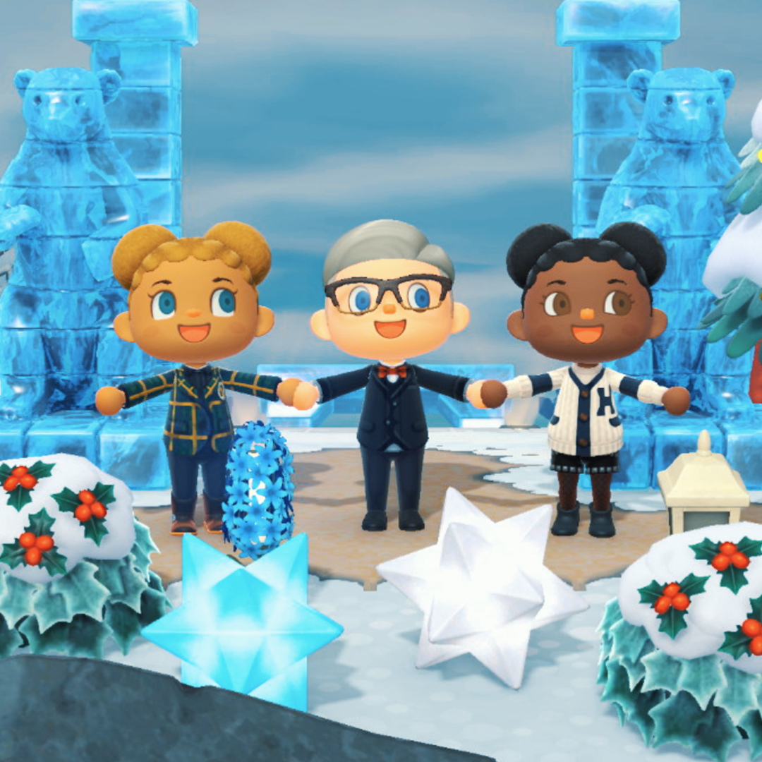"""Jasmine Sanders, Tommy Hilfiger and Michaela De Prince in """"Tommy Forest"""" in """"Animal Crossing: New Horizons."""""""
