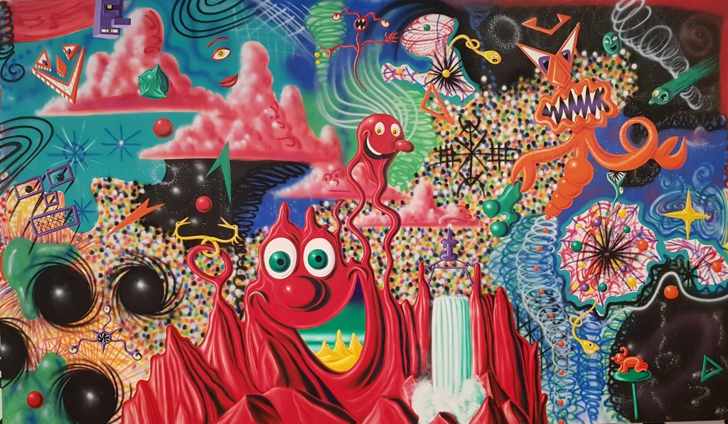 "Kenny Scharf's 1984 painting ""When Worlds Collide."""
