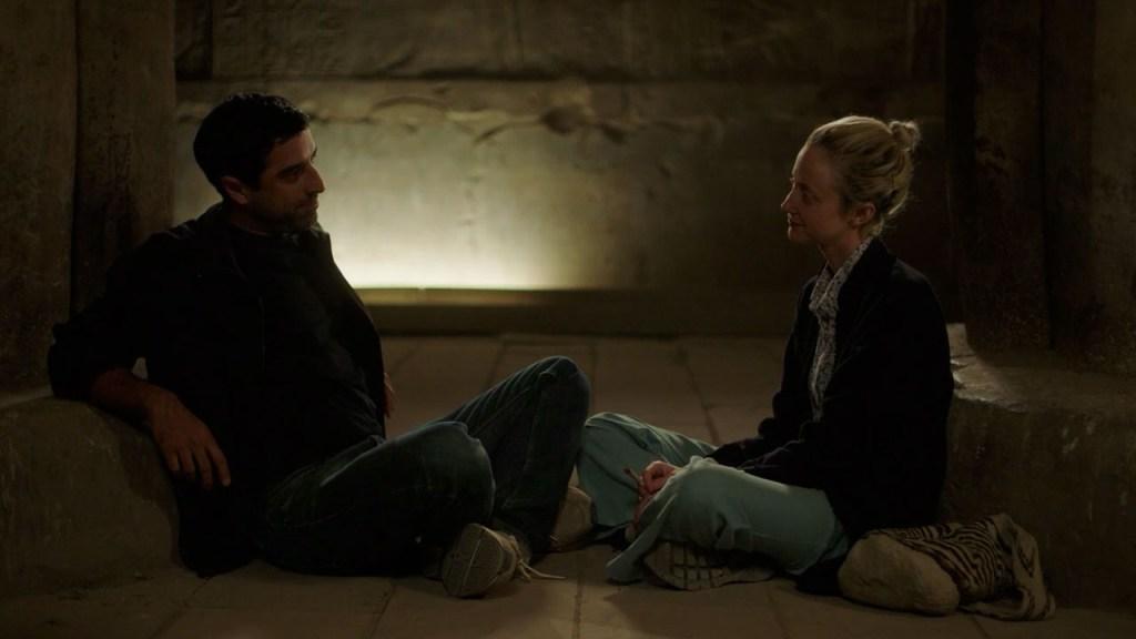 "Karim Saleh and Andrea Riseborough in a still from ""Luxor."""