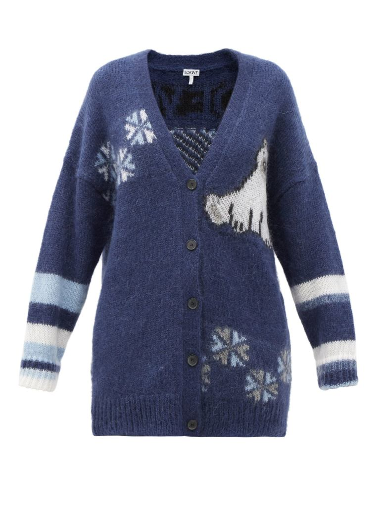 Holiday Sweaters 2020 Loewe Polar Bear Jacquard Mohair-Blend Cardigan