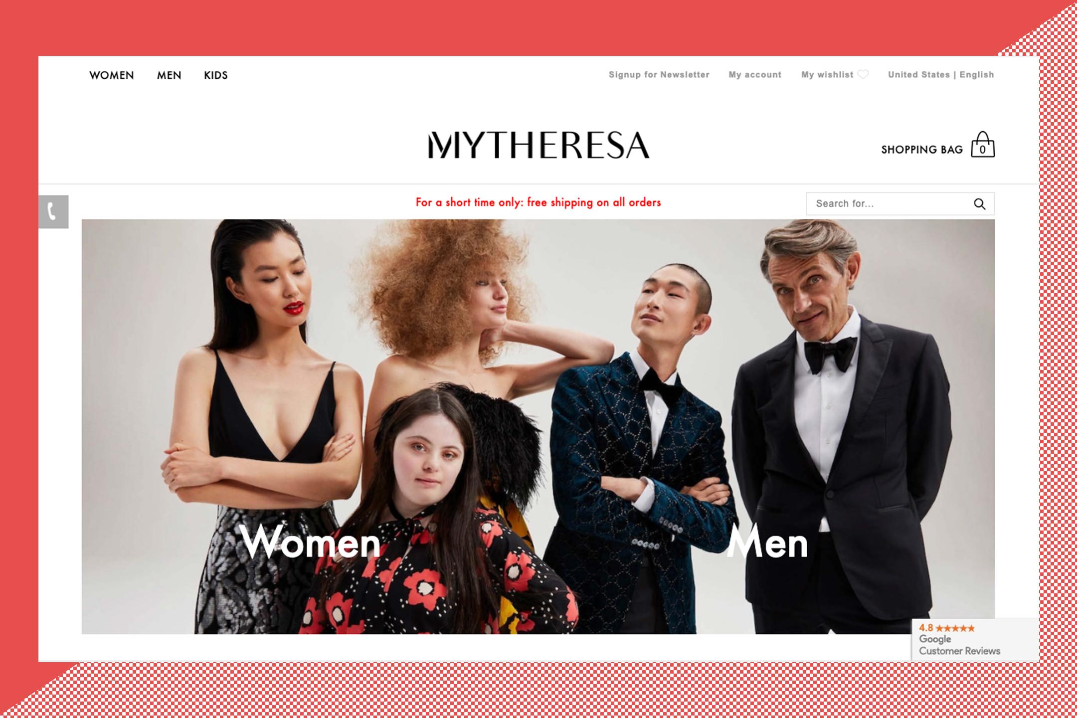 The home page for Mytheresa.com.