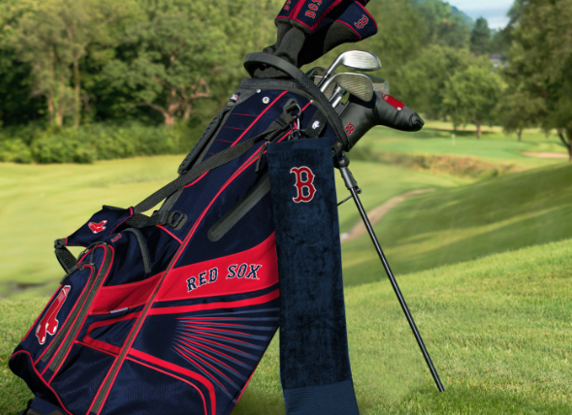 A Red Sox golf bag.
