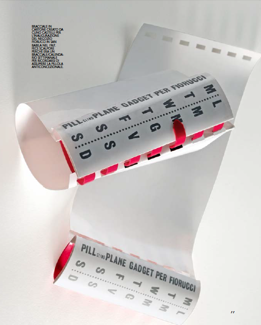 Fiorucci's Pill Plane plastic bracelet created by Clino Castelli.