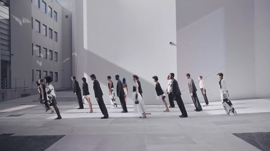 "A still from Emporio Armani's video ""Building Dialogues."""