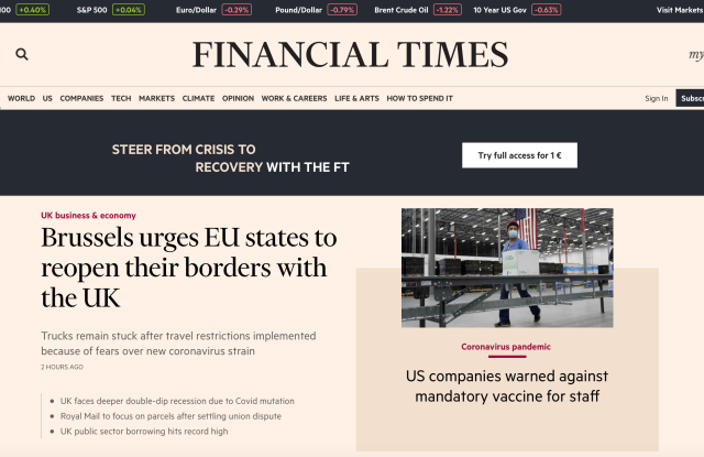 The Financial Times homepage