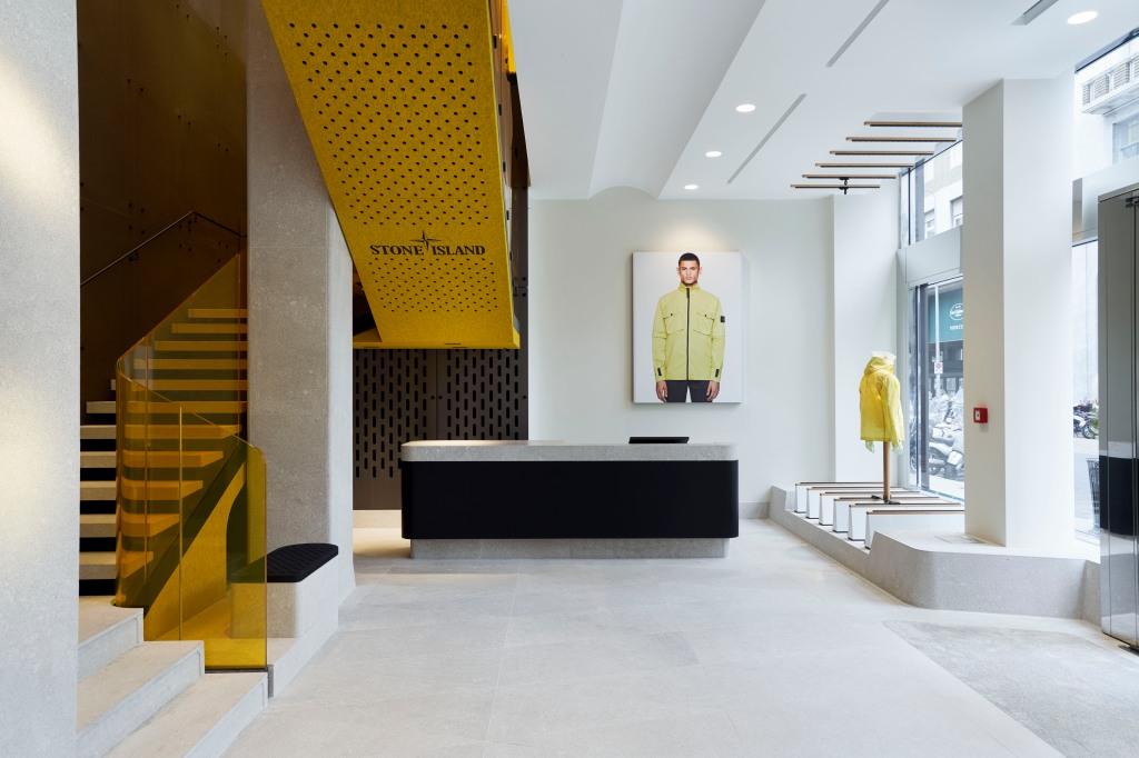 Inside the Stone Island store on Milan's Corso Matteotti.