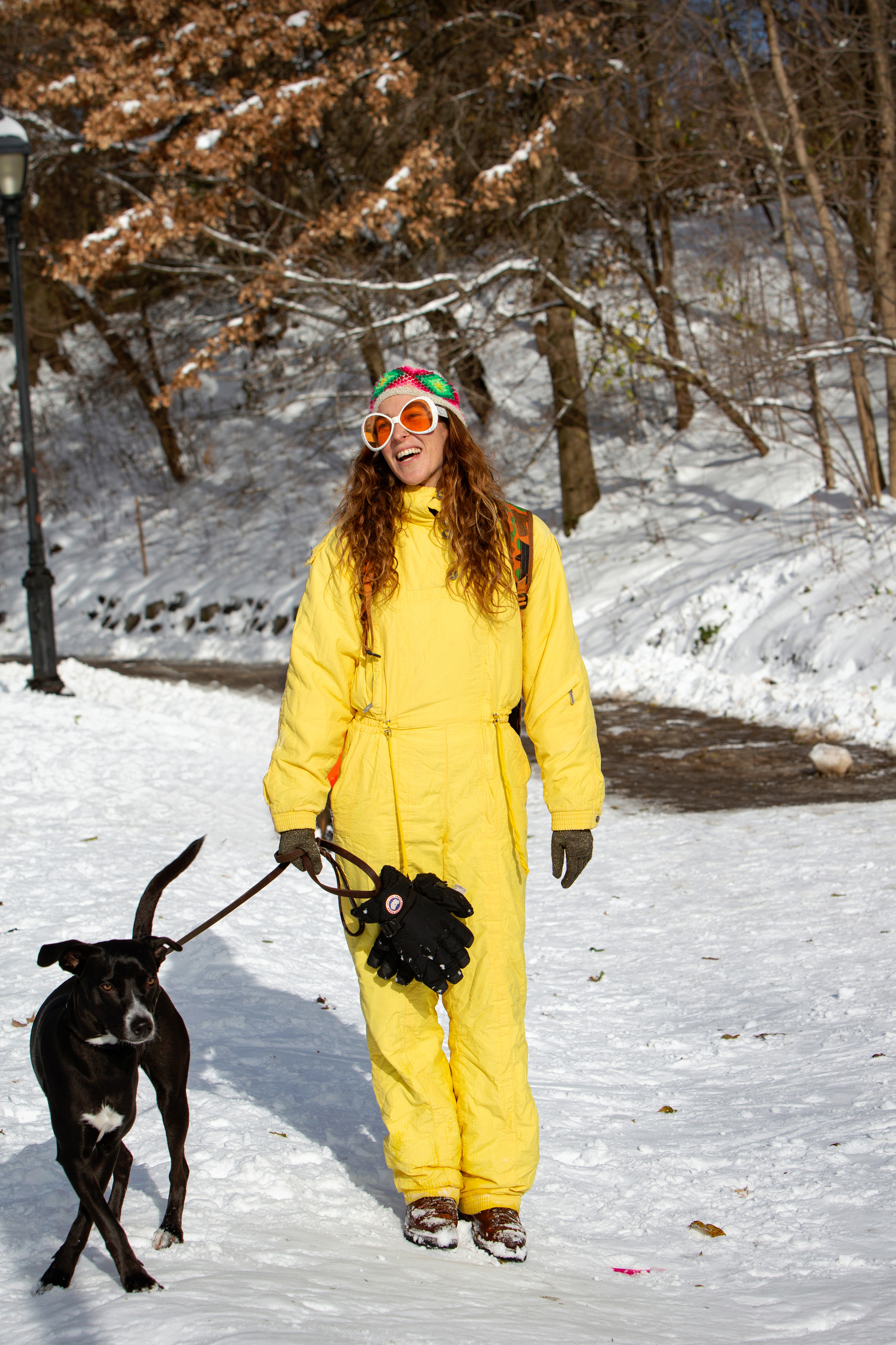 Street style in Prospect Park after the blizzard in New York City.