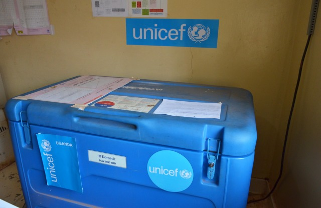 As part of the cold chain management support, a freezer provided by UNICEF at Bujubuli Health Centre III in Kyaka II refugee settlement. UNICEF with funds from UN CERF supports immunization activities for refugee children and host communities living in Kyaka II refugee settlement by providing the services in health facility and outreach posts within the settlement.