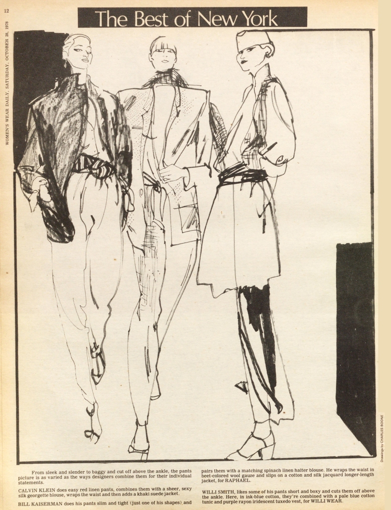Best of New York Spring 1978, Calvin Klein, Bill Kaiserman for Raphael and Willie Wear by Willi Smith. Illustration by Charles Boone.