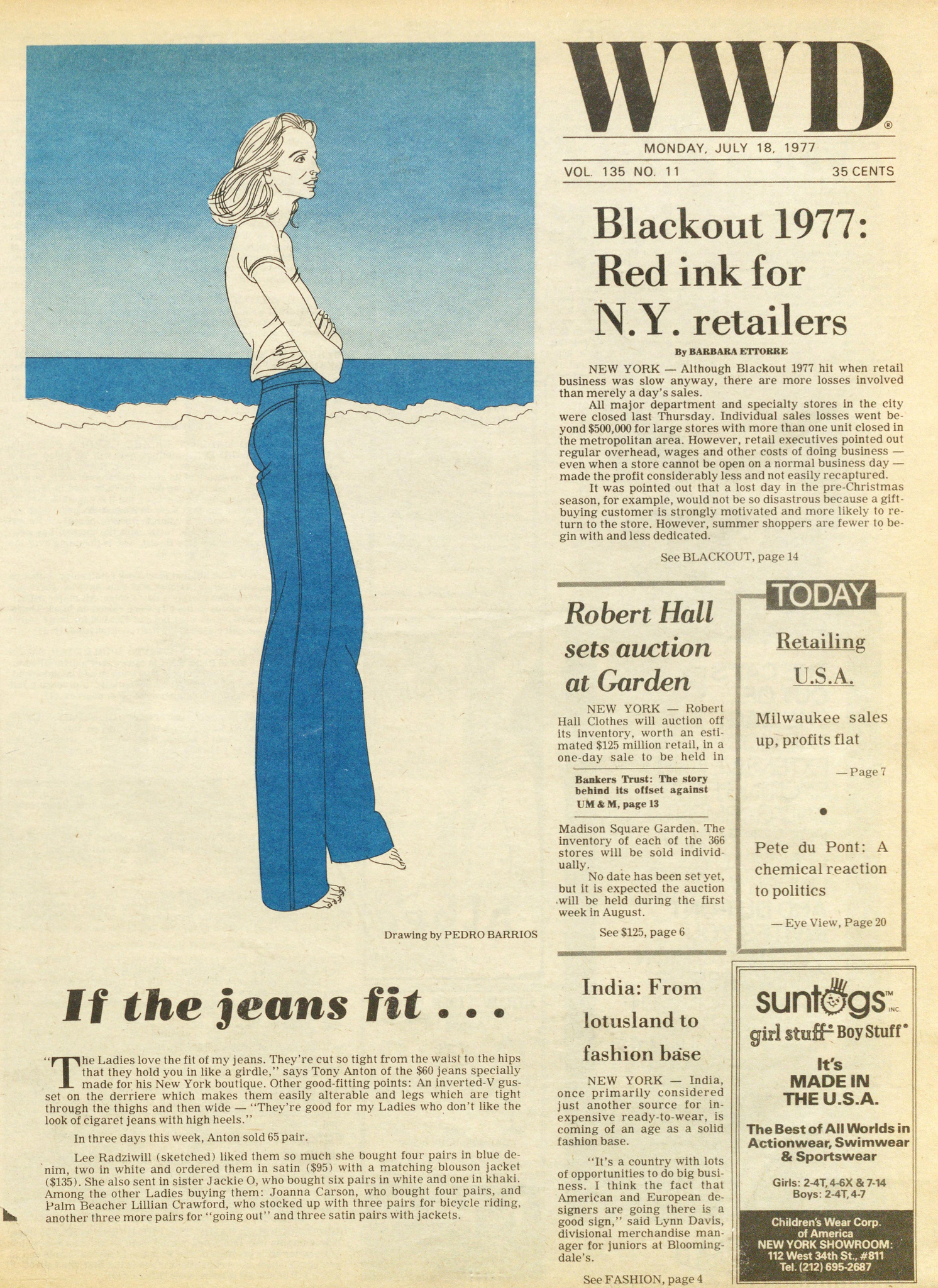 """""""If the jeans fit…,"""" illustrated by Pedro Barrios for the July 18, 1977 of WWD."""