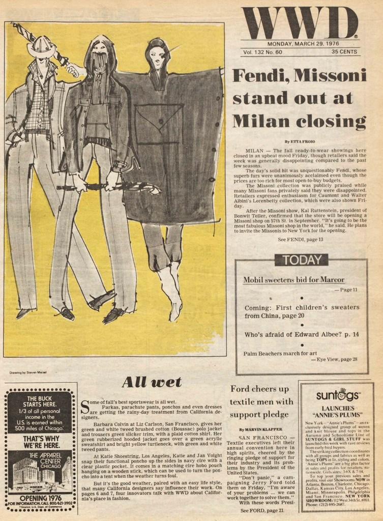 Fall 1976 California Designer Sportswear Collection Advances. Illustration by Steven Meisel.