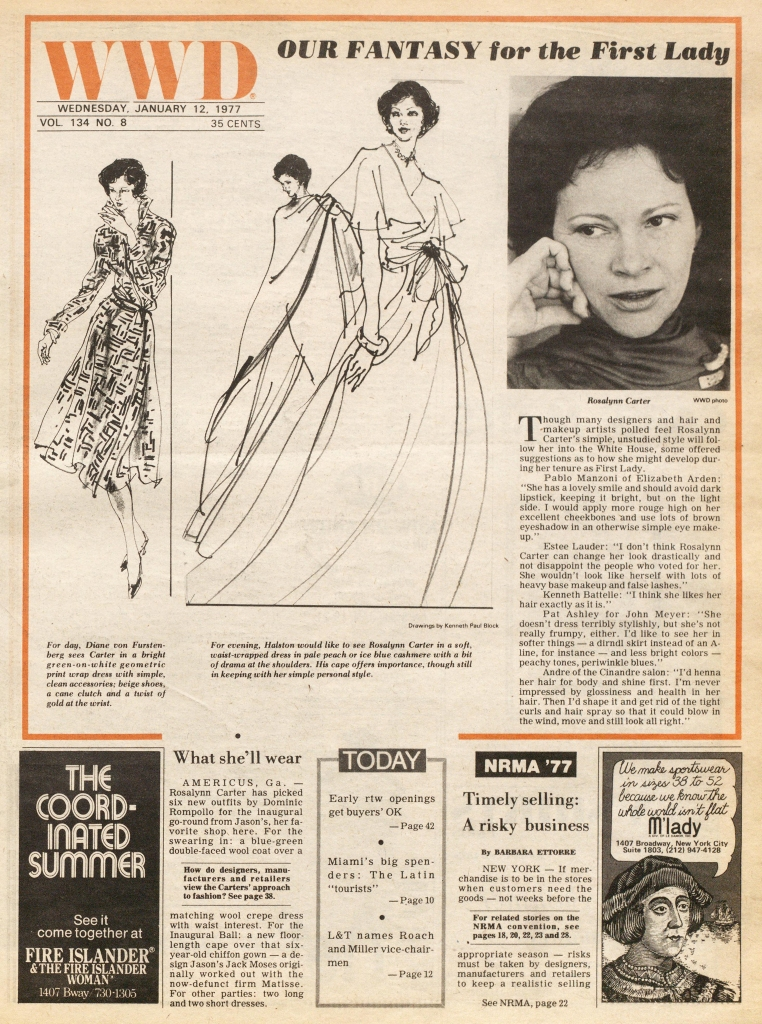 Designers Diane von Furstenberg and Halston choose what they would like to see First Lady Rosalyn Carter wear. Illustrated by Kenneth Paul Block for the January 12, 1977 issue of WWD.