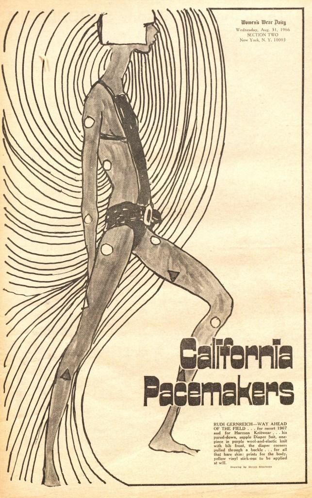 """Rudi Gernreich Resort 1967 """"Diaper Suit"""" for Harmon Knitwear. Illustration by Steven Stipelman"""