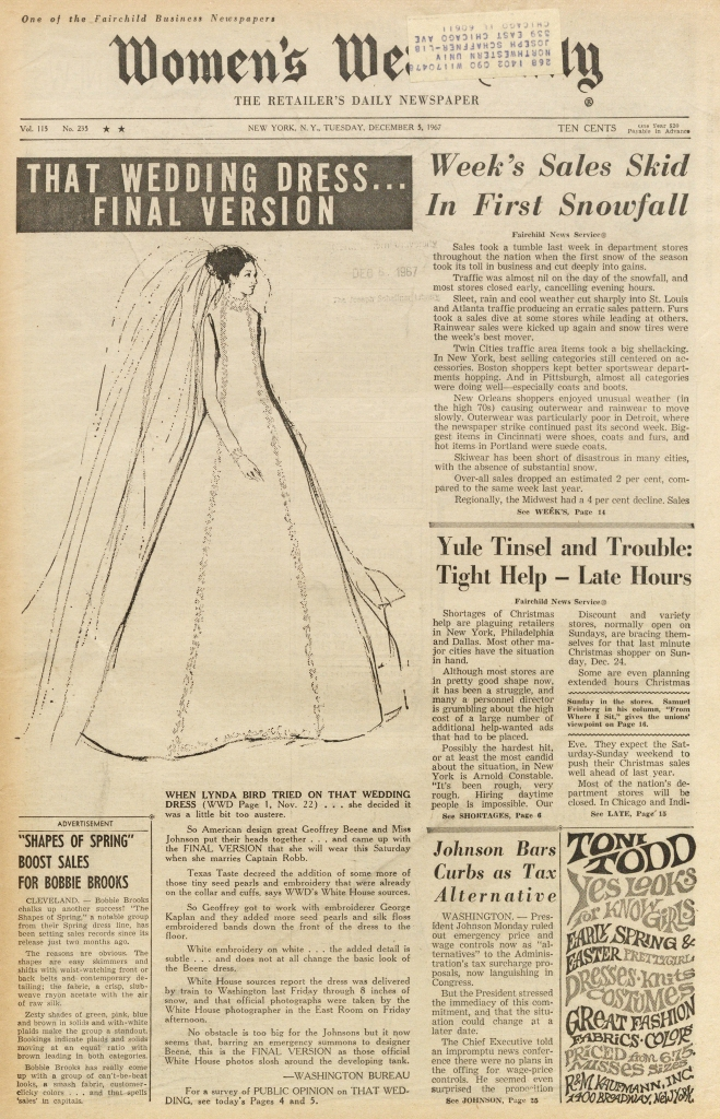 """That Wedding Dress"" Lynda Byrd Johnson Wedding Dress deigned by Geoffrey Beene. Illustration by Steven Stipelman."