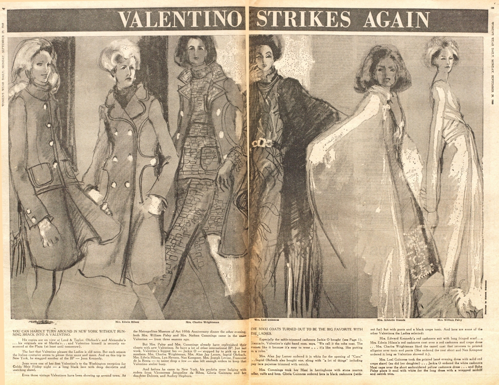 New York Society Ladies in Valentino Couture, Fall 1969. Illustrated by Steven Stipelman.