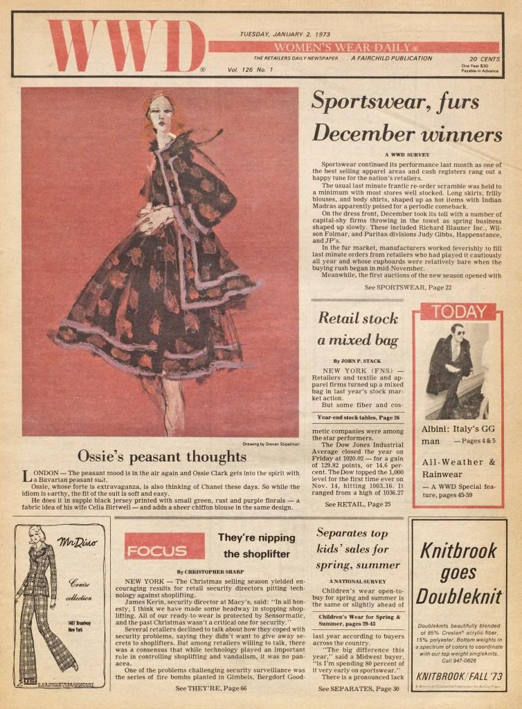 Ossie Clark Fall 1973 Ready To Wear Advance. Illustrated by Steven Stipelman.