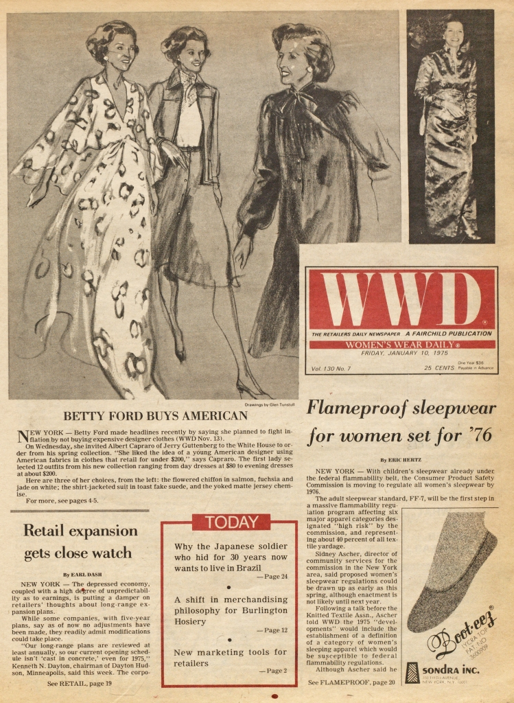 """Betty Ford Buys American,"" featured in a 1972 issue of WWD. Drawings by Glenn Tunstull."