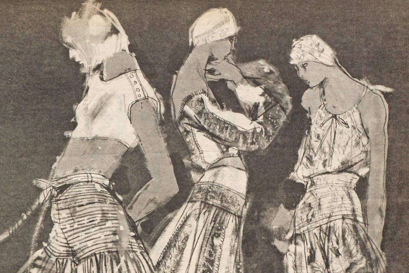 Blassport, Anne Klein and Oscar de la Renta in a 1976 issue of WWD. Illustration by Steven Stipelman.