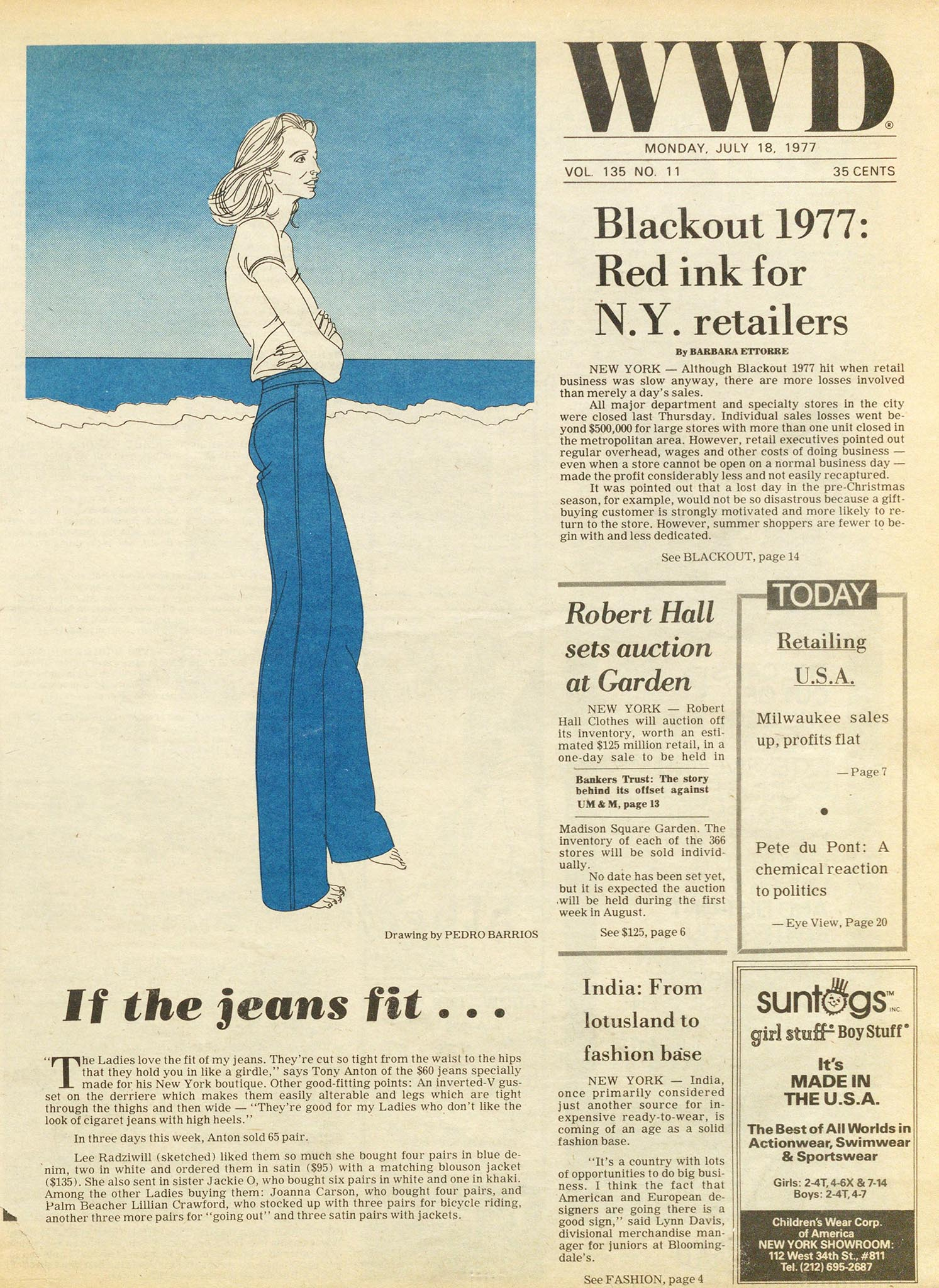 """If the jeans fit…,"" illustrated by Pedro Barrios for the July 18, 1977 of WWD."