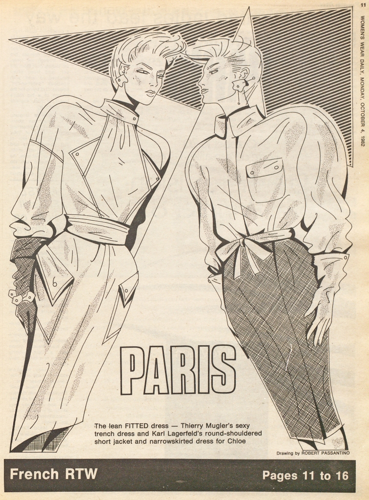 A 1982 issue of WWD featuring French ready-to-wear: Thierry Mugler and Karl Lagerfeld for Chloe. Drawings by Robert Passantino.