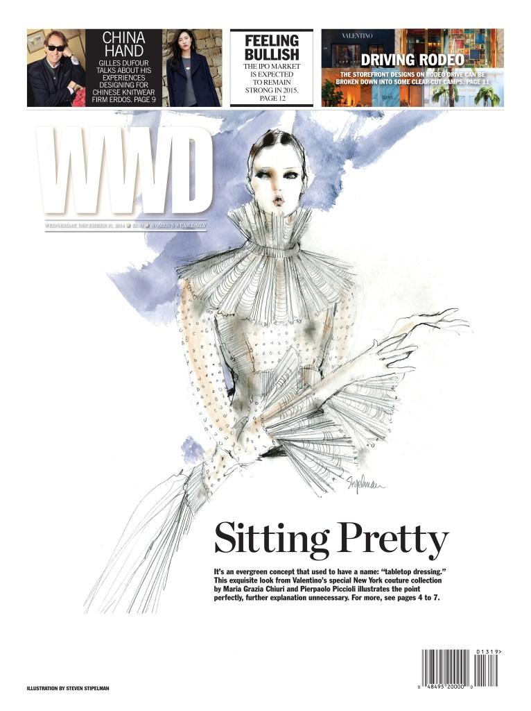 Valentino's Special Fall 2014 Couture Collection for New York designed by Pierpaolo Piccioli and Maria Grazia Chiuri. Illustration by Steven Stipelman.