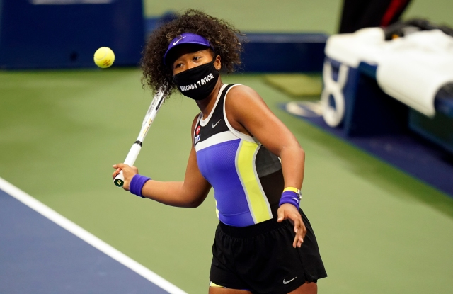 Naomi Osaka, wears a mask in honor of Breonna Taylor during the first round of the US Open tennis championships.