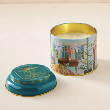 ilume milk and cookies holiday tin candle