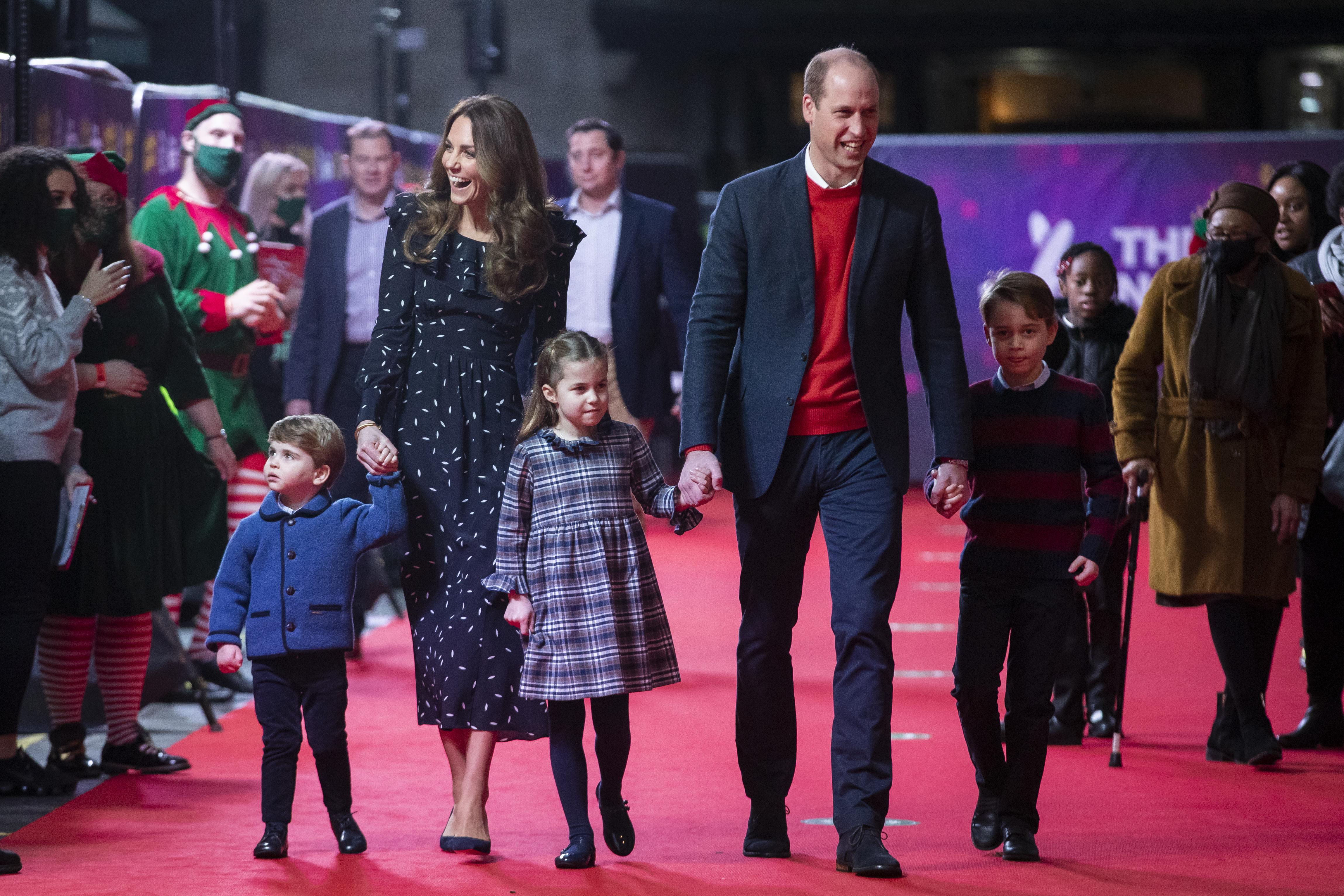 Photos of Prince William, Kate Middleton, Prince George, Princess Charlotte and Prince Louis at the London Palladium