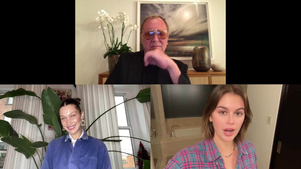 Michael Kors with Bella Hadid and Kaia Gerber on the Golden Heart Awards virtual event.