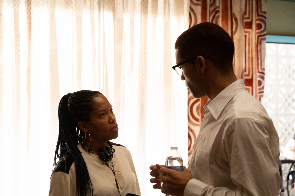 Director Regina King and Kingsley Ben-Adir on the set of