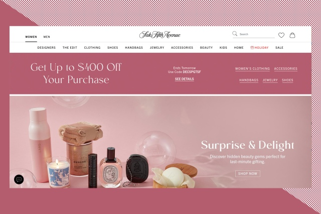 The Saks Fifth Avenue homepage.