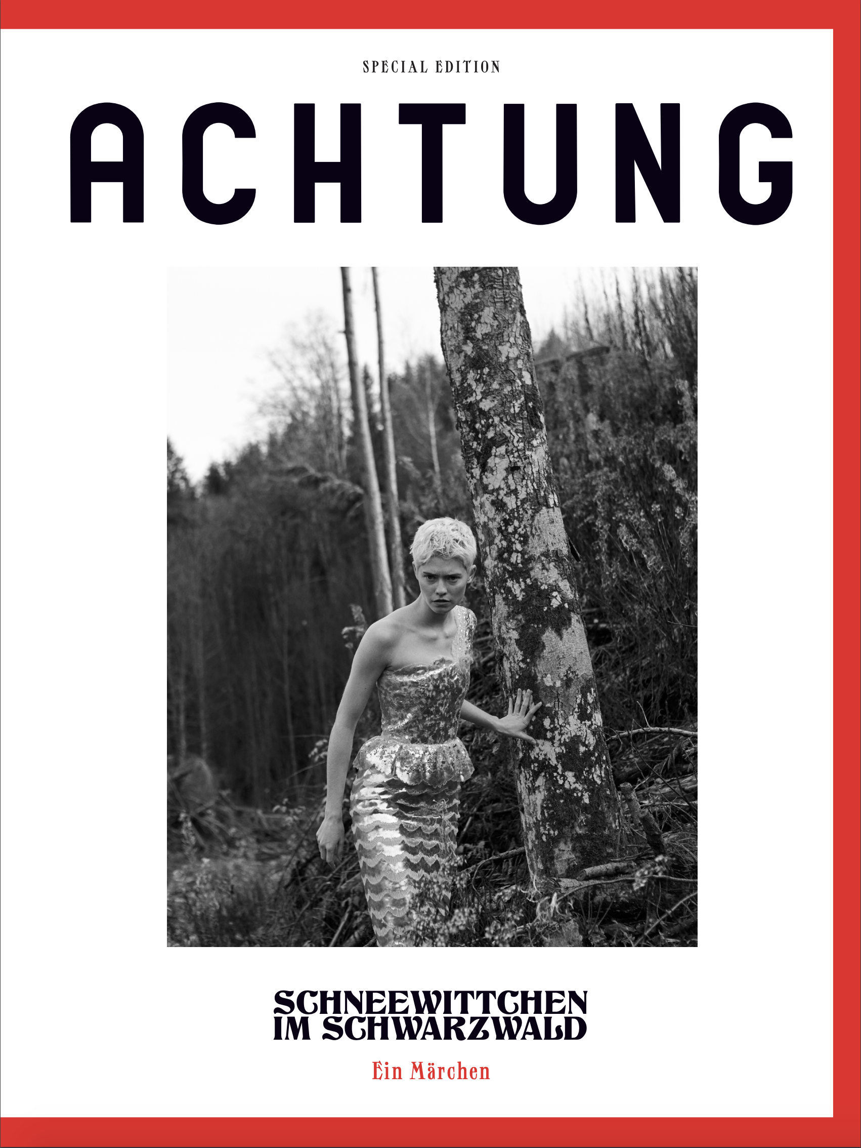 The cover of a special edition of Achtung, shot in Germany's Black Forest.