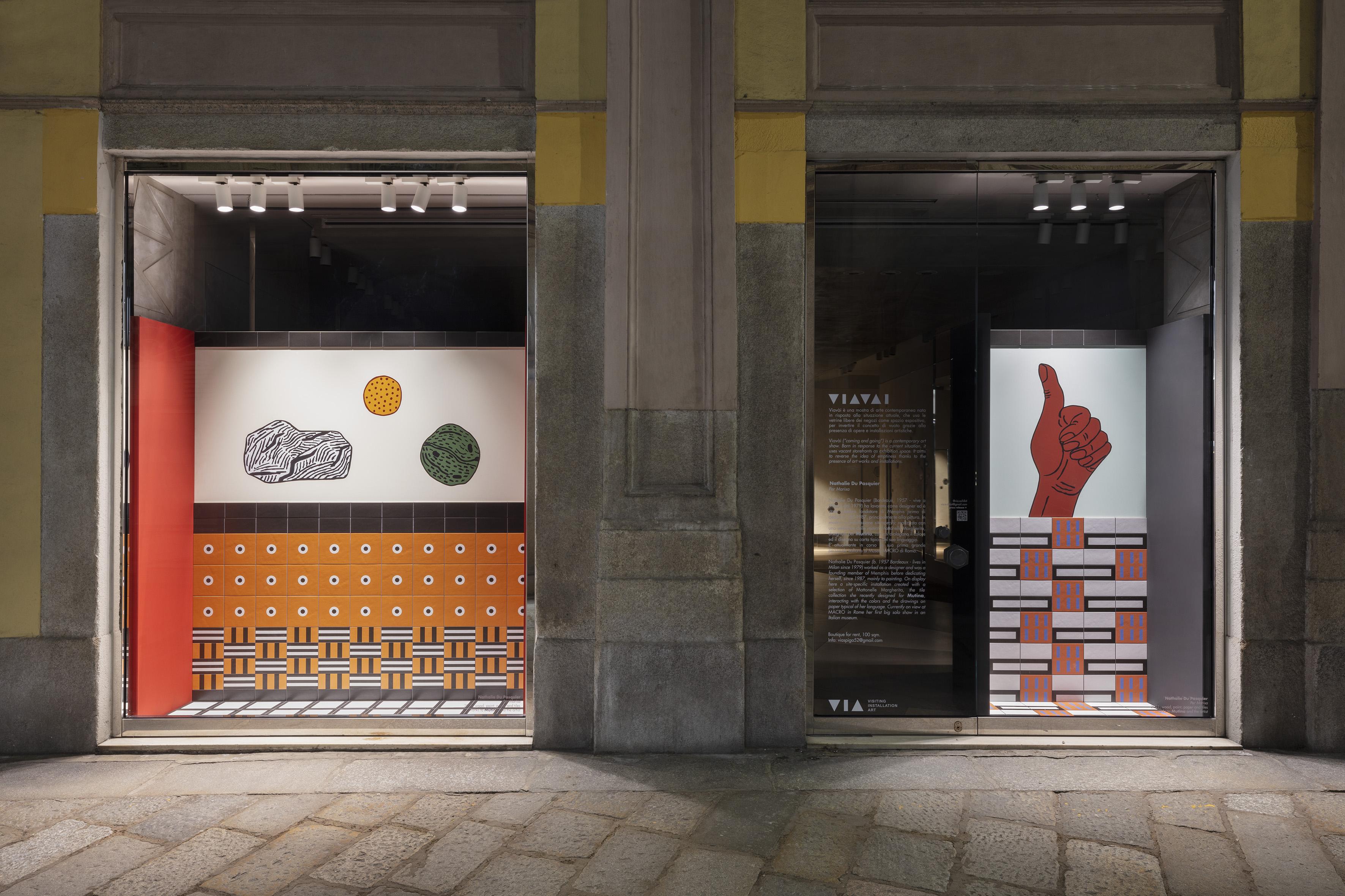 Artworks by Nathalie Du Pasquier on Milan's Via Spiga.